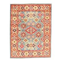 Pasargad NY Handmade Kazak Design Red Lamb's Wool Area Rug - 6'7 x 5'