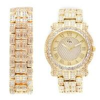 Hip Hop Iced Out Gold Bling Bling Luxurious Men's Rapper Watch with Matching Bling Bling Gold Bracelet - N/A