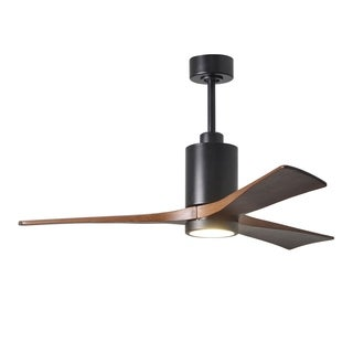 Matthews Fan Company Patricia 3-blade 52-inch Matte Black Paddle Fan with Frosted Glass Light Kit - Walnut Tone Blades