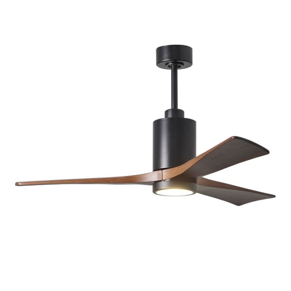 Patricia 3-blade 52-inch Matte Black Paddle Fan with Frosted Glass Light Kit - Walnut Tone Blades