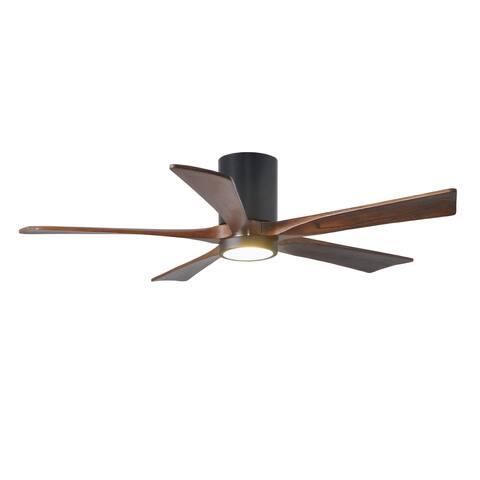 Irene-HLK 5-blade 52-inch Matte Black Flush Mount Paddle Fan with Walnut Tone Blades