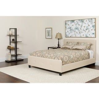 Elmira Full Size Beige Fabric Platform Bed with Button Tufted Headboard