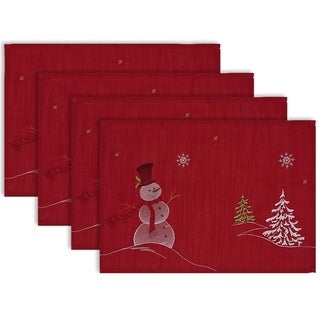 Design Imports Embroidered Snowman Kitchen Placemat Set (Set of 4)