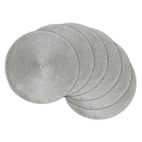 Design Imports Round Woven Metallic Silver Polypropolene Kitchen Placemat Set (Set of 6)