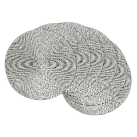 Design Imports Round Woven Metallic Silver Polypropolene Kitchen Placemat Set (Set of 6)