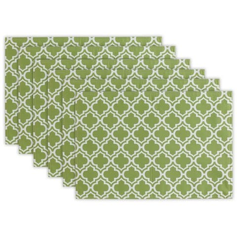 Design Imports Summer Stripe Polyester Outdoor Placemat Set (Set of 6)