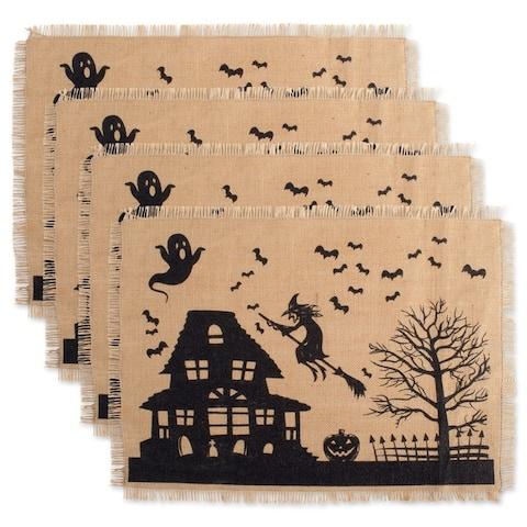 Design Imports Haunted House Print Burlap Kitchen Placemats (Set of 4)