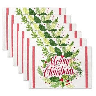 Design Imports Merry Christmas Print Kitchen Placemat Set (Set of 6)