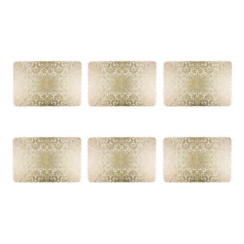 Design Imports Gold PVC Lace Kitchen Placemat Set (Set of 6)