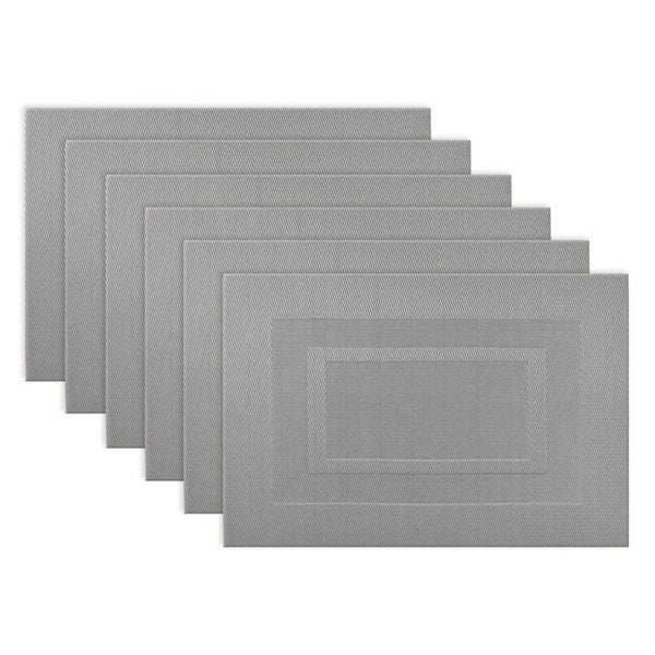 Design Imports Silver Doubleframe PVC Kitchen Placemat Set (Set of 6). Opens flyout.