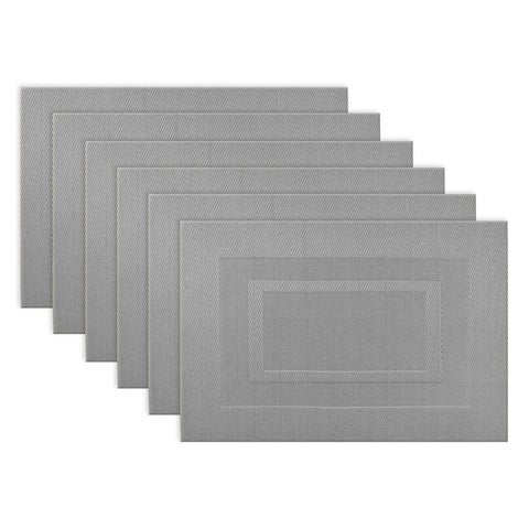 Design Imports Silver Doubleframe PVC Kitchen Placemat Set (Set of 6)