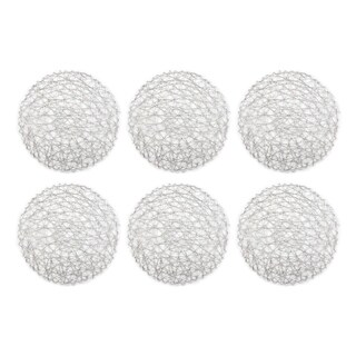 Design Imports Round Woven Paper Silver Kitchen Placemat Set (Set of 6)