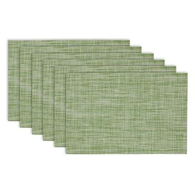 Design Imports Fig Green Tweed PVC Kitchen Placemat Set (Set of 6)