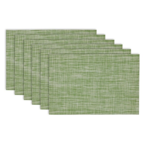 Design Imports Fig Green Tweed PVC Kitchen Placemat Set (Set of 6)