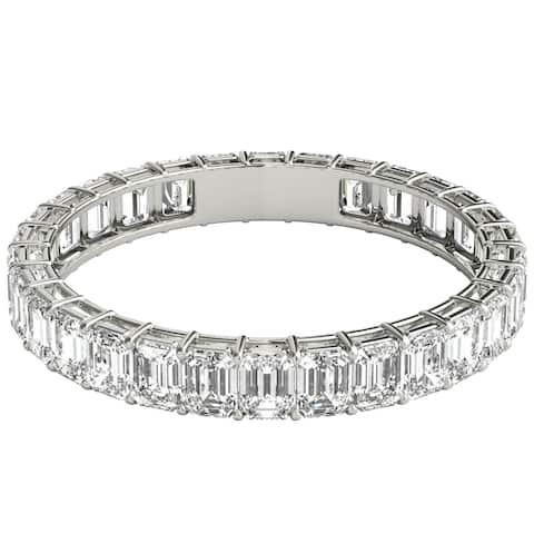 Seraphina 18k White Gold 2ct TDW Emerald Cut Diamond Eternity Ring