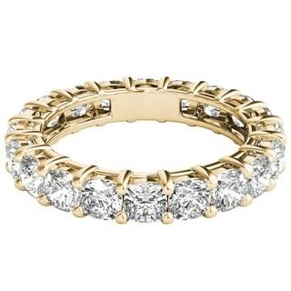 Seraphina 18k Yellow Gold 4ct TDW Cushion Cut Diamond Eternity Ring