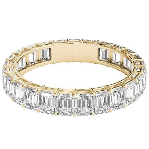 Seraphina 18k Yellow Gold 3ct TDW Emerald Cut Diamond Eternity Ring