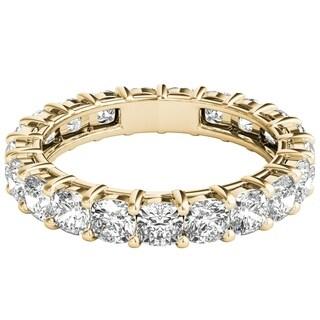 Seraphina 18k Yellow Gold 3ct TDW Cushion Cut Diamond Eternity Ring