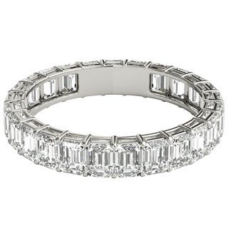 Seraphina Platinum 3ct TDW Emerald Cut Diamond Eternity Ring