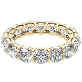 Seraphina 18k Yellow Gold 6ct TDW Cushion Cut Diamond Eternity Ring