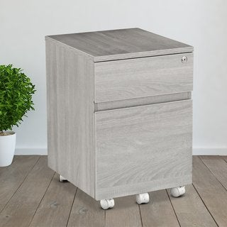 The Gray Barn Miranda Office Rolling Two Drawer Storage And File Cabinet With Lock