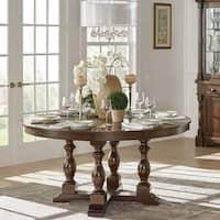 Flatiron 60-Inch Burnished Dark Oak Finish Round Dining Table by iNSPIRE Q Classic