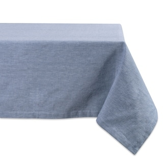 Design Imports Blue Solid Chambray Kitchen Tablecloth (84 Inch Wide x 60 Inch Long)