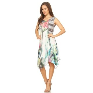 High Secret Women's Mix Printed Sleeveless Multi-color Asymmetrical Dress (4 options available)