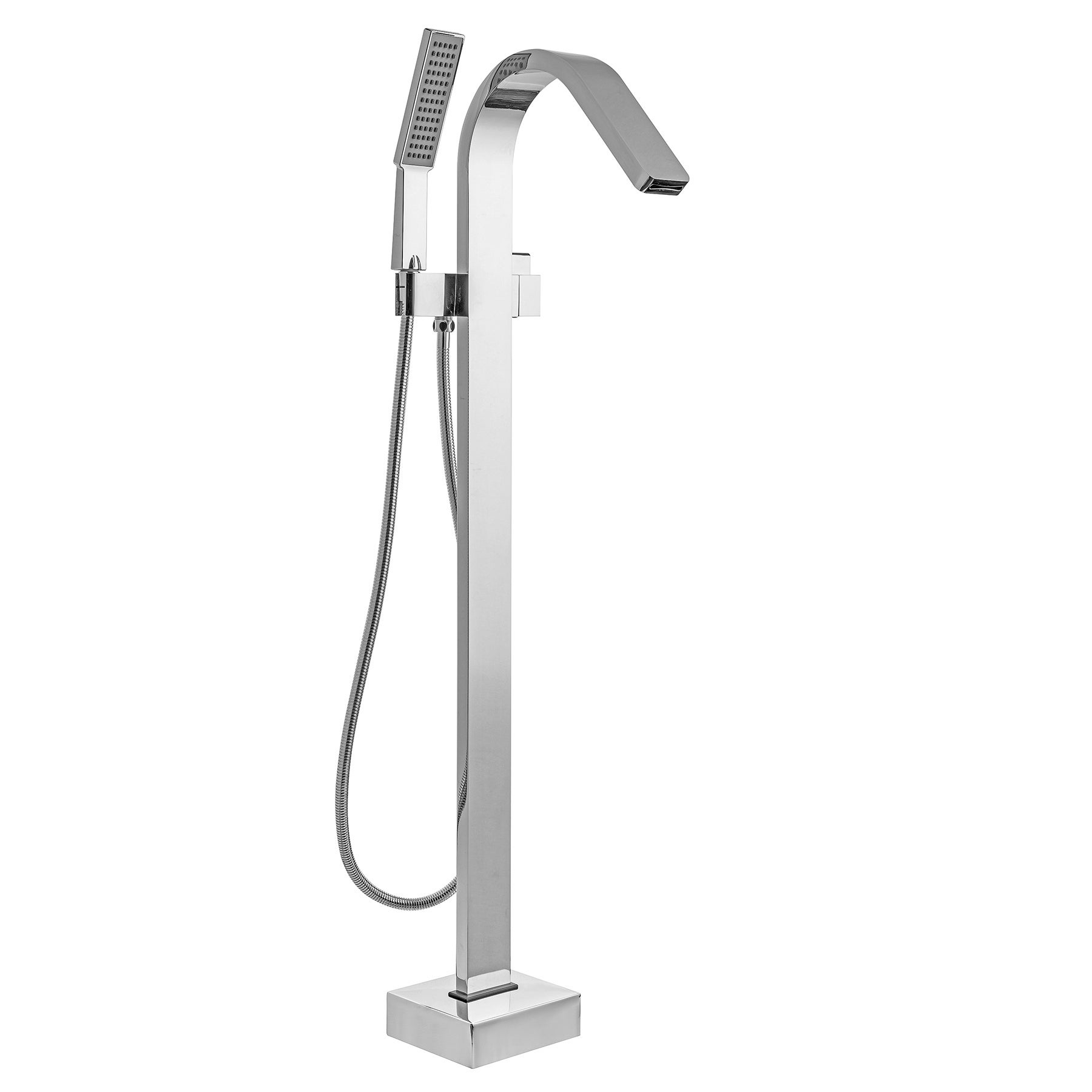 Akdy 41 Freestanding Floor Mounted Bath Tub Filler Faucet Handheld Shower Head Wand In Chrome Finish