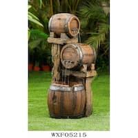 Wood Barrel Fountain