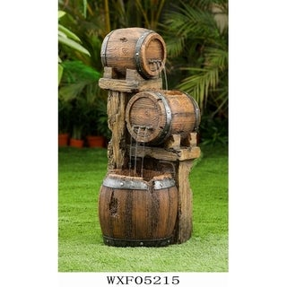 Wood Barrel Fountain