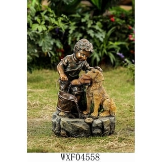 Boy Play with Dog Fountain