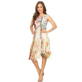 High Secret Women's Mix Printed Sleeveless Multi-color Asymmetrical Dress