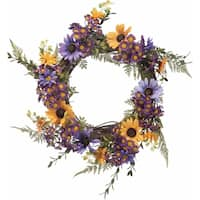 Faux Mixed Yellow and Purple Daisy Wreath
