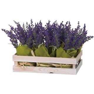 Faux Lavender Pots with Crate Set of 7