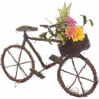 Transpac Wood  Brown Spring Twig Bicycle with Bouquet Decor
