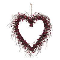Faux Red and White Berry Heart Wreath