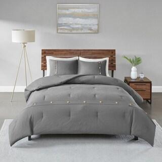 Madison Park Rianon Grey 3 Piece Cotton Waffle Weave Comforter Set