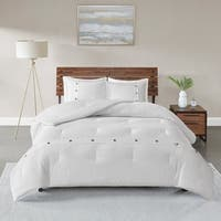 Madison Park Rianon White 3 Piece Cotton Waffle Weave Comforter Set