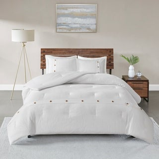 Madison Park Rianon White 3 Piece Cotton Waffle Weave Comforter Set