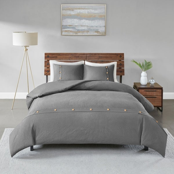 Madison Park Rianon Grey 3 Piece Cotton Waffle Weave Duvet Cover Set