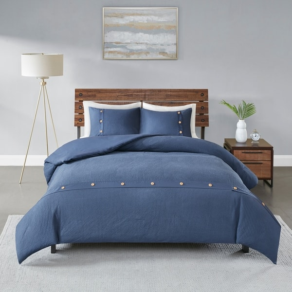 Madison Park Rianon Navy 3 Piece Cotton Waffle Weave