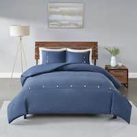 Madison Park Rianon Navy 3 Piece Cotton Waffle Weave Duvet Cover Set