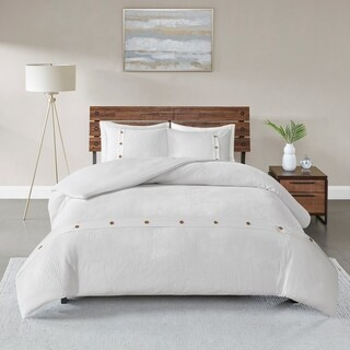 Madison Park Rianon White 3 Piece Cotton Waffle Weave Duvet Cover Set