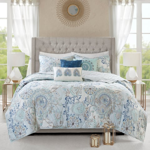 Madison Park Loleta Blue 6 Piece Cotton Reversible Coverlet Set