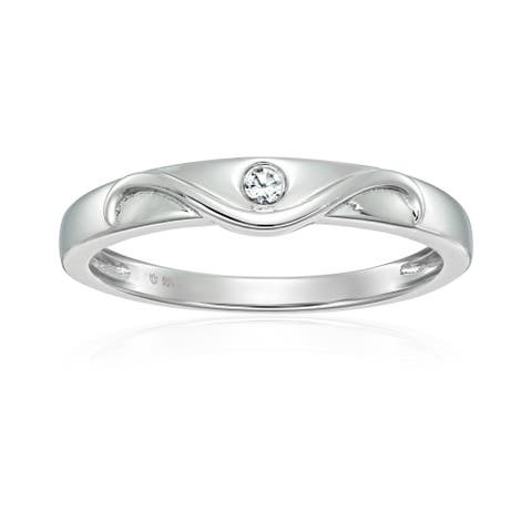 Sterling Silver Natural White Zircon Ring