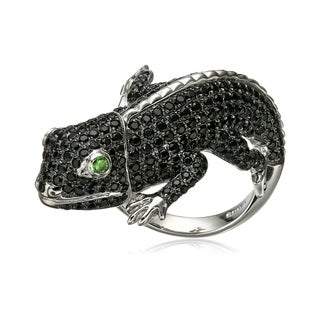 Sterling Silver Black Spinel And Tsavorite Lizard Ring