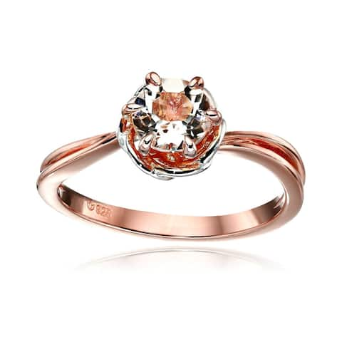 Rose Gold - Plated Silver Morganite Round Ring Size - 7
