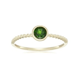 Pinctore 10k Yellow Gold Chrome Diopside Solitaire Beaded Stackable Ring