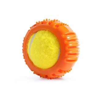 Fluffy Paws Squeaky Dog Toy Pet Tennis Ball with Textured Round Squeaky Rubber (Teeth Cleaning/Massage Gums), Orange